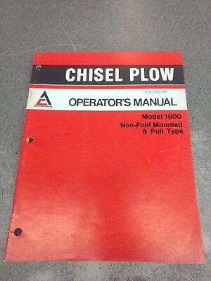 Allis Chalmers Chisel Plow Model 1600 Operators Manual 70599648