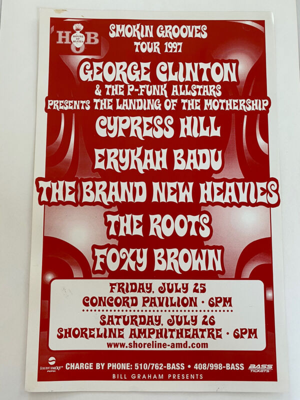 George Clinton Cypress Hill Erykah Badly The Roots Foxy Brown 97 Concert Poster