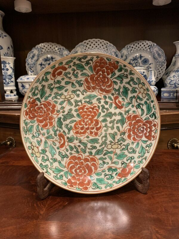 Antique Chinese Wucai Porcelain Plate Transition Period Or Qing Shunzhi