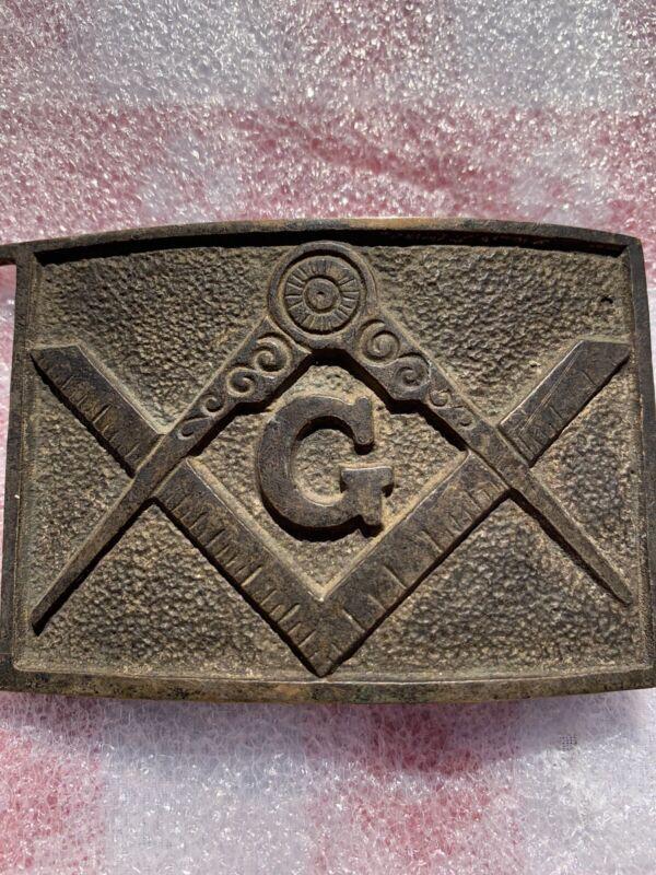 "Civil War Antique Masonic Sword Belt Plate Buckle - 3"""