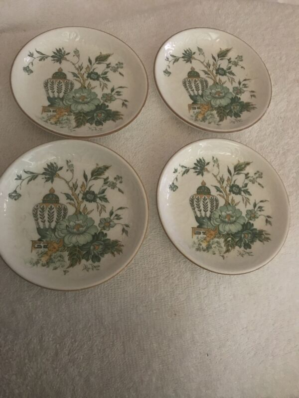 Crown Staffordshire Kowloon Fine Bone China England Lot Of 4 Butter Pats Green
