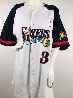 3ef508794 VINTAGE NIKE TEAM IVERSON Philadelphia 76ers Sixers NBA Warm Up Jersey  3  XXL