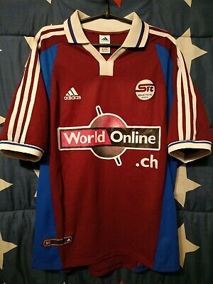 SIZE L SERVETTE GENEVE FC 2000-2001 HOME FOOTBALL SHIRT JERSEY image