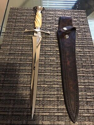 BUSTER WARENSKI CUSTOM LARGE ARKANSAS TOOTHPICK DAGGER KNIFE/SHEATH-LOVELESS ERA