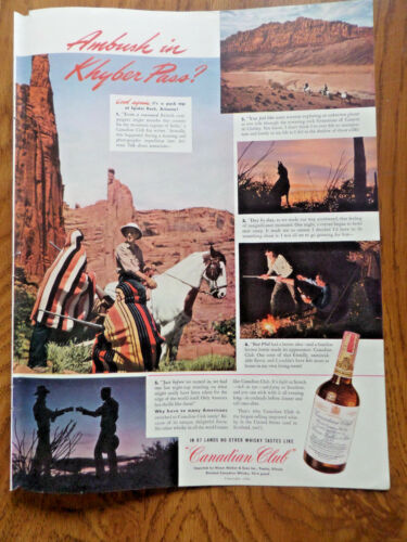 1942 Canadian Club Whiskey Ad Hunting in Canyon de Chelley Arizona