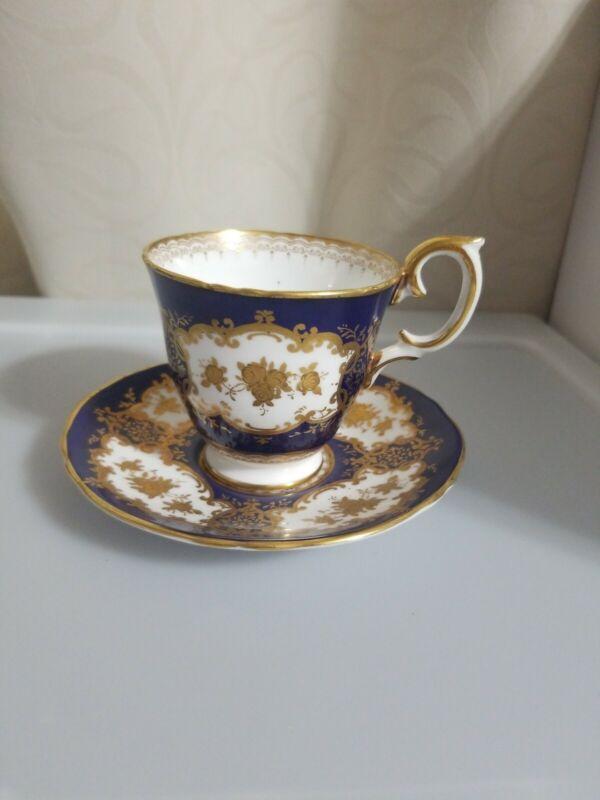 Antique Vintage Staffordshire Blue Floral Tea Cup and Saucer Fine Bone China
