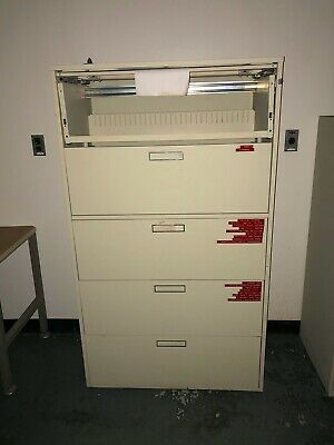 Hon Tan Metal Filing Cabinet With Five Drawers 3w X 19d X 62h
