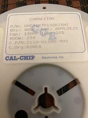 Ceramic Capacitor 1500pf 25v Smd 1206 3850 Pcs