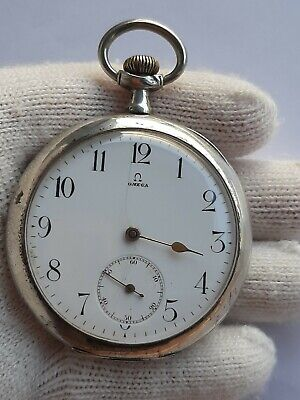 OMEGA POCKET WATCH VINTAGE MANUAL SILVER 0.800 SIZE 54mm SWISS JUST SERVICED