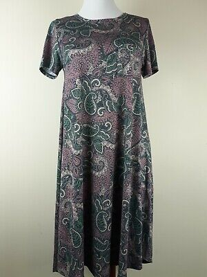 LuLaRoe Women's Carly Dress Paisley Plum Print High Low Hemline Sz XXS](Plum Dresses)