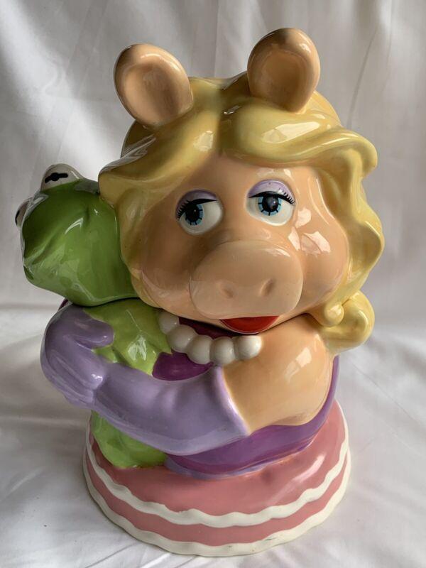 MUPPETS KERMIT THE FROG MISS PIGGY COOKIE JAR BY WESTLAND GIFTWARE JIM HENSON