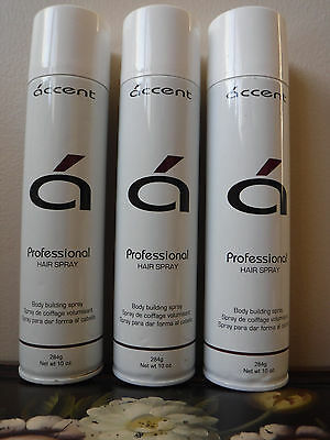 ACCENT PROFESSIONAL HAIR SPRAY BODY BUILDING SPRAY SET OF 3 FULL SIZE 10OZ EACH  for sale  Shipping to India