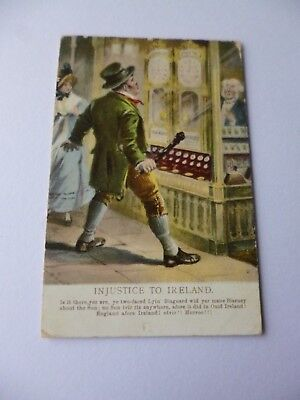 'Injustice to Ireland'. Character with verse postcard