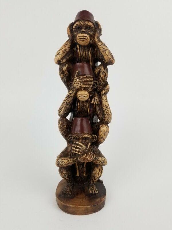 Vintage Hear See Speak No Evil Monkeys In Fez Hats Statue Figurine