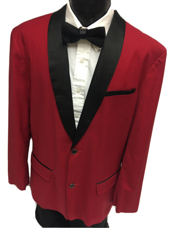 Guess RED TuX SMOKING Jacket Satin Shawl Collar ROCKABILLY Formal SLIM SportCoat