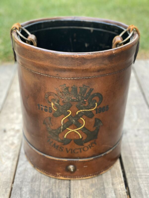 HMS Victory Leather Vintage Fire Bucket - 1965 - Authentic Naval History Piece