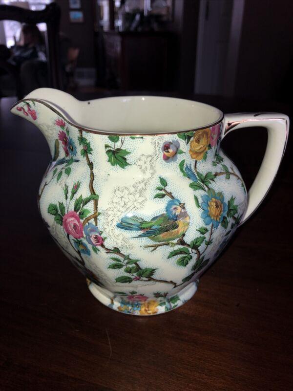 Medium Royal Tudor Ware Lorna Doone Bird Flower Milk Jug Pitcher Barker Bros UK