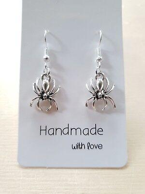 Wunderbar silberne Spinnen Ohrringe ♥ Halloween Gothic ♥ Handgefertigter Schmuck