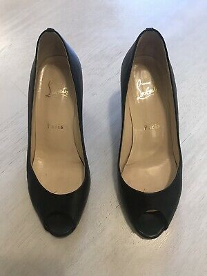 Christian Louboutin Womens 6.5 US 36 1/2 Leather Wedge Peep Toe Italy Made Shoes