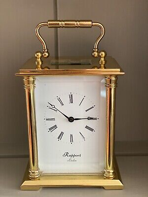 Solid brass 9 Jewelled Carriage Clock by Rapport of London