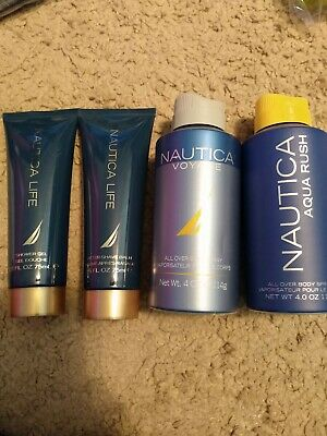 Nautica Lot Life Shower Gel And After Shave, Aqua Rush Spray And Voyage Spray