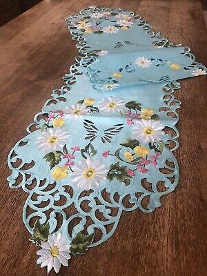 Elegant Embroidered White Daises On Blue Table Runner Chic Spring Gerbera Linen