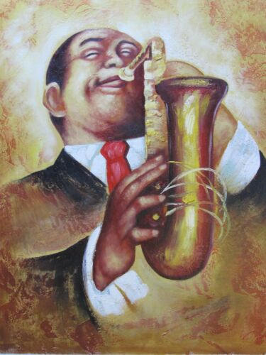 jazz+black+blue+musician+large+oil+painting+trumpet+saxophone+abstract+original
