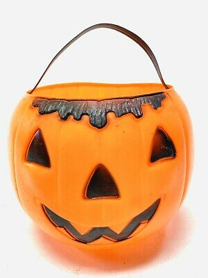 Vintage Empire Blow Mold Pumpkin w Hair Halloween Candy Bucket w Handle 1970