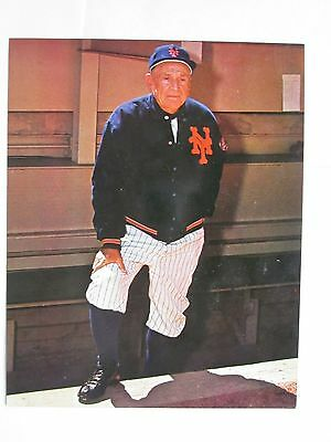 Casey Stengel Color Printed Photo NY Mets Dugout Pose Vintage 8 x 10  Excellent