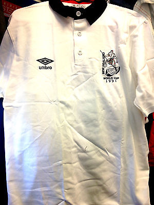 NEW ZEALAND rugby shirt training shirt vintage 1991 WORLD CUP at £14 cottion
