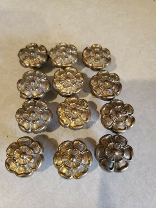 12 Vintage Brass Drawer Cabinet Dresser Pulls Knobs Handles Rosette Floral