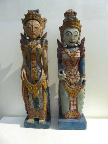 2 Antique Bali Art Carved Wood Vishnu Statues chinese bali indonesian sawadee