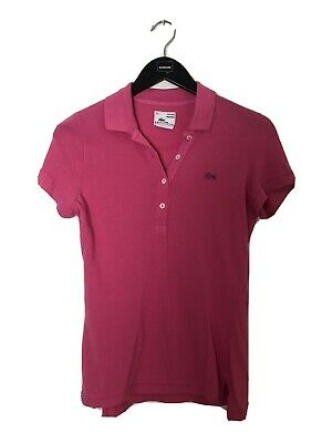 Lacoste Women's Polo Vintage Wash Size 36 Short Sleeve Top Hot Pink
