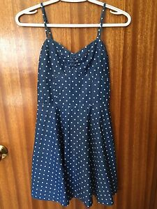 Jean Dress with White Polka Dots