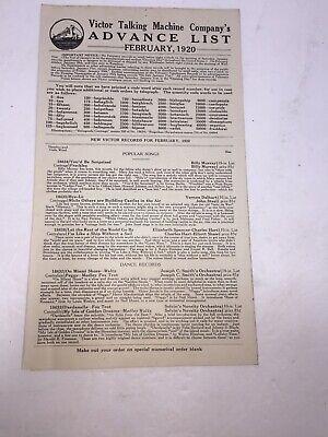 Vintage February 1920-Victor Talking Machine Advance Order List! Rare!