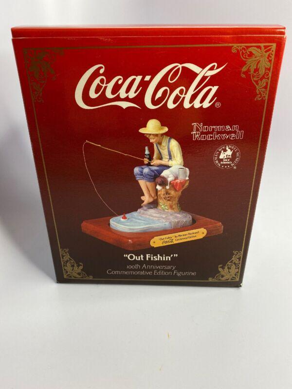 "Coca Cola 100th Anniversary 1986 NORMAN ROCKWELL ""Out Fishin"