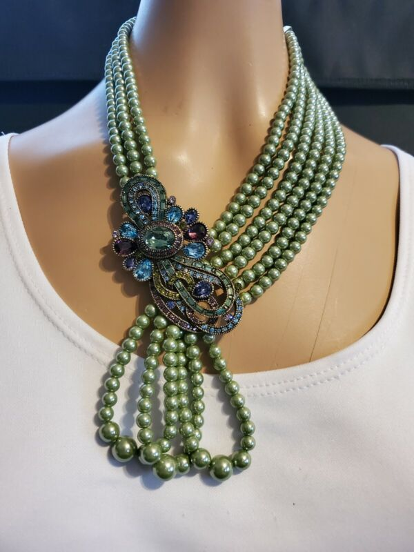 Heidi Daus Classically Curated Multi-Strand Drop Necklace  Ret: $239.95