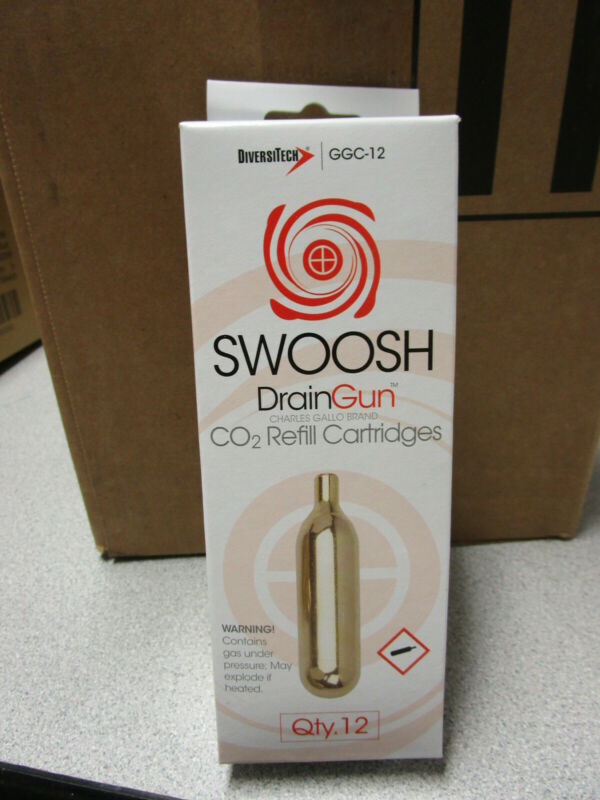 SWOOSH DRAIN GUN CARTRIDGES - DIVERSITECH  GGC-12 CO2 REFILL CARTRIDGES - QTY.12
