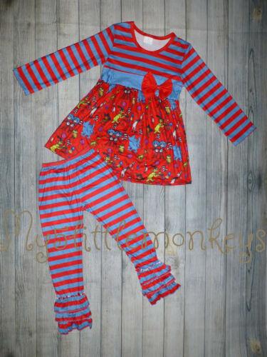 NEW Dr Seuss Tunic Dress Ruffle Leggings Girls Boutique Girls Outfit Set