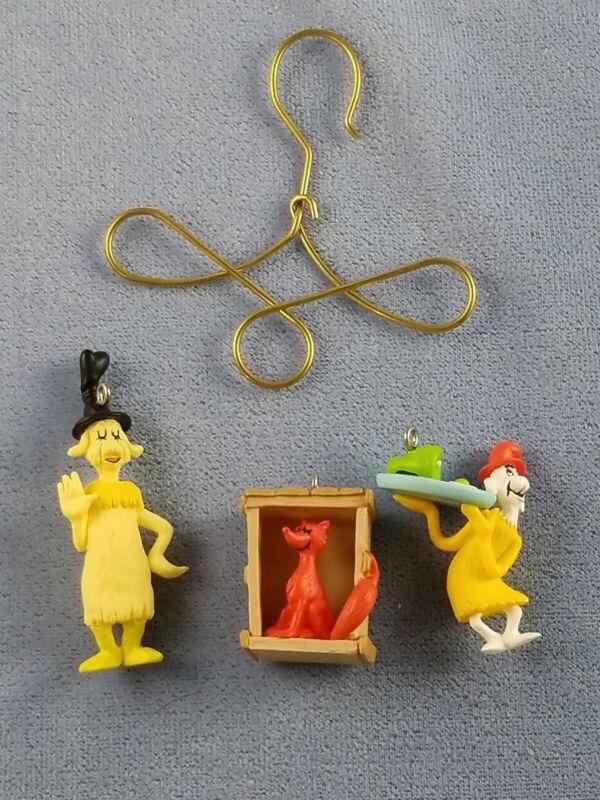 Hallmark Dr. Seuss GREEN EGGS and HAM Miniature Ornaments w/Bonus Display Hook