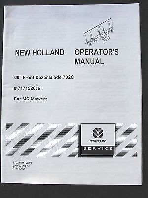 New Holland 5 Front Dozer Blade For Mc Mower 22 28 35 Tractor Operators Manual