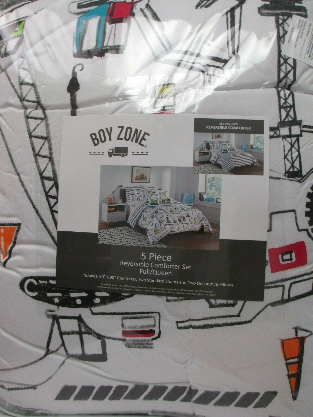 BOY ZONE Kids 5pc Construction Equipment Comforter Pillow Se