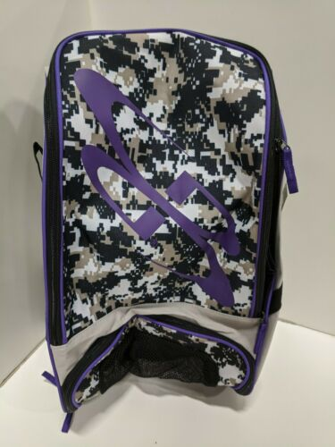 BOOMBAH Baseball Softball Sports Gear 2 Bat Pack Bag Backpack Grey Camo PURPLE