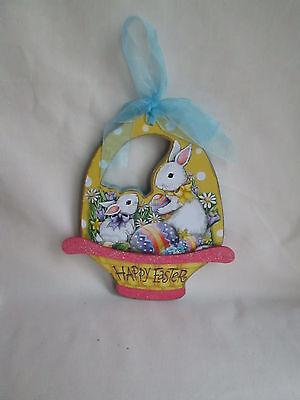 Wooden Wall-Door Decor Happy Easter Bunny Rabbits in Basket,  New  - Wooden Easter Baskets
