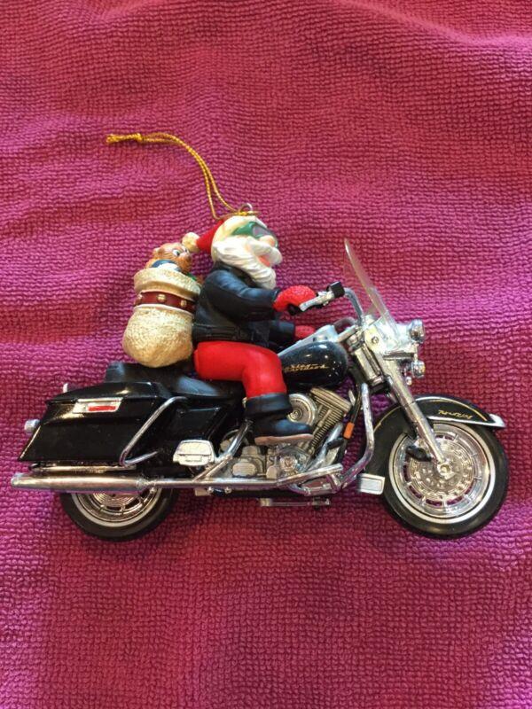 Santa On Harley Davidson Motorcycle Christmas Ornament