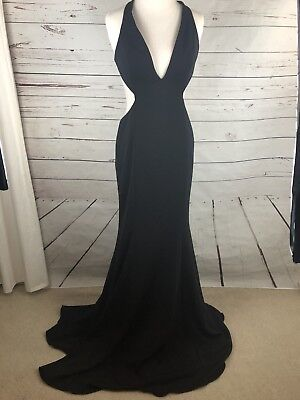 Length Cut Out - Jay Godfrey Douglas Black Cut-Out Sexy Floor Length Evening Dress Gown 10 Large