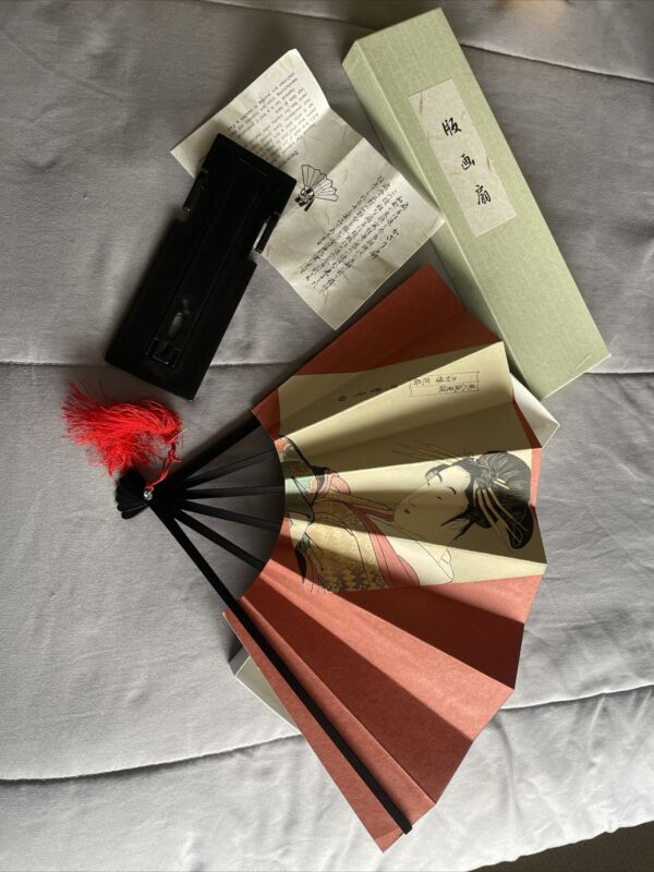 Kyoto decorative folding fan of Kyoto with stand and box NEW/JAPAN