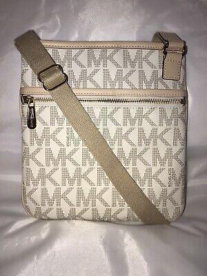 Michael Kors Jet Set Signature PVC Leather Crossbody Shoulder Handbag Vanilla
