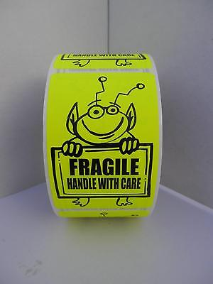 Fragile Handle With Care Cute Yellow Alien Holding Sign 2x3 Sticker Label 250rl