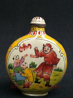 Collection China Old Copper Cloisonne Painitng Figure Boy Cock Snuff Bottle Gift